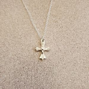 Small silver cross necklace pendant NWT